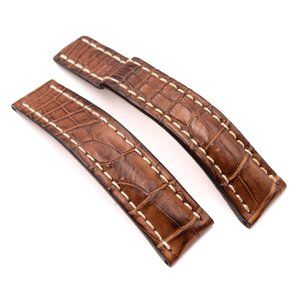 BREITLING Brown Croco Leather Strap, 22-20, 738P